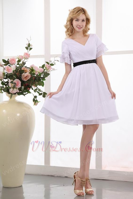 Black Belt Short Sleeves White Dress For Prom Party Under 100