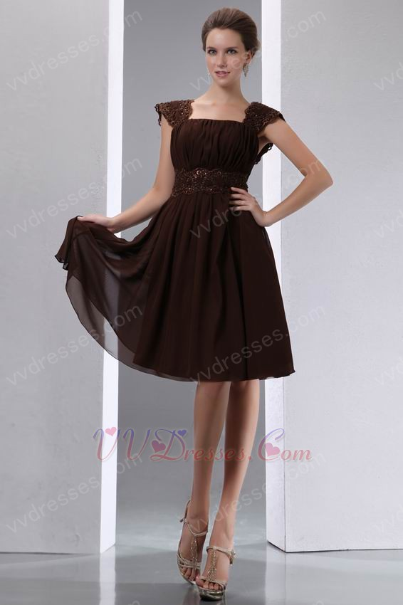 Cap Sleeves Coconut Brown Short Prom Beach Dress