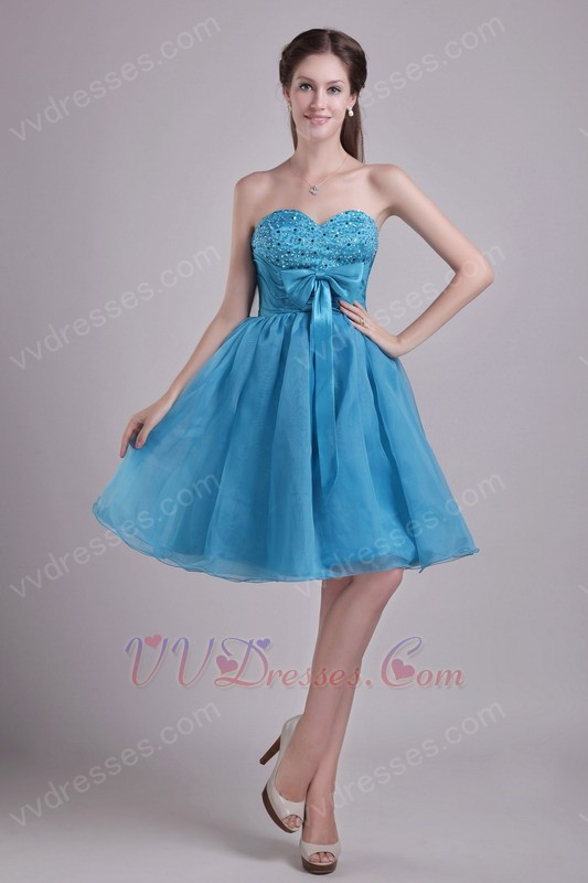 teal blue organza aline skirt short prom dress by top