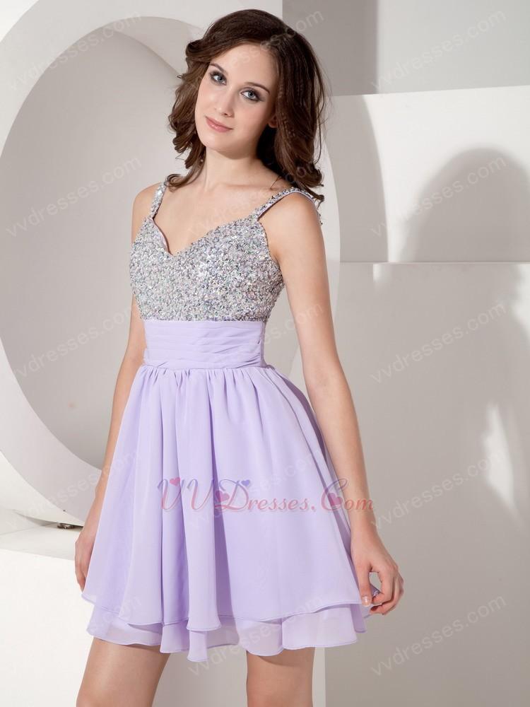 Discount Spaghetti Straps Lavender Skirt Beaded Prom Short