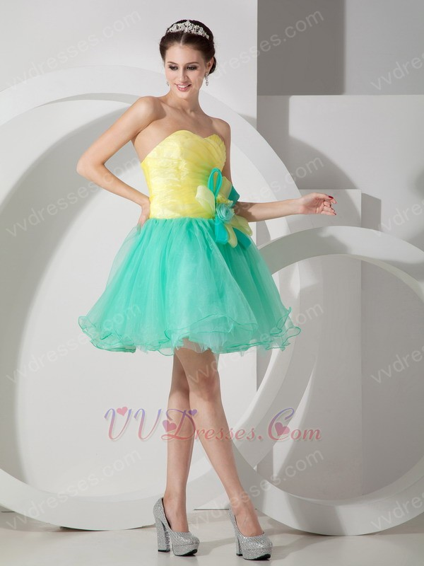 Spring Green And Bright Yellow Contast Color Short Prom Dress