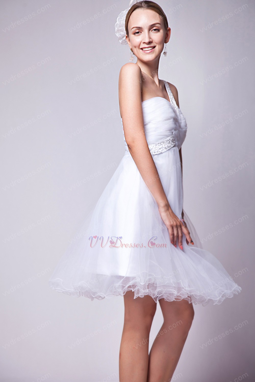 Cute One Shoulder Knee Length White Tulle Sweet 16 Dress