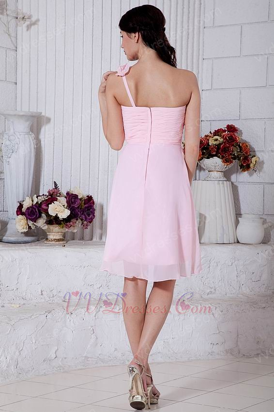 One Shoulder Flowers Straps High Low Pink Sweet Sixteen Dress