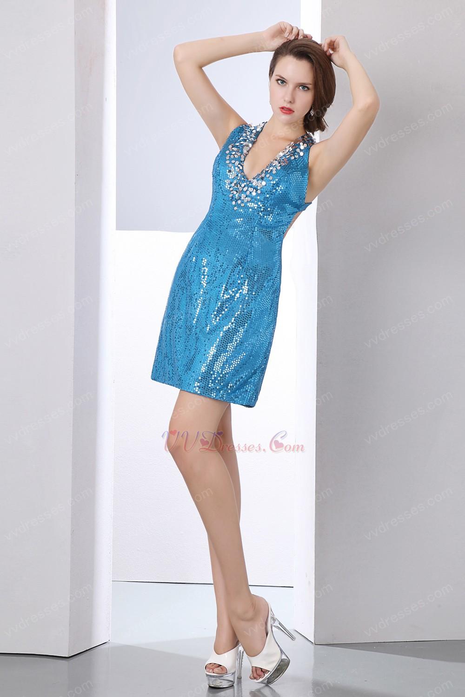 Dodger Blue Sequin Fabric Sexy Mini Sweet 16 Dress