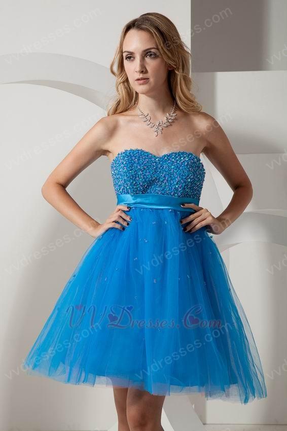 sweetheart knee length dodger blue sweet 16 dress short