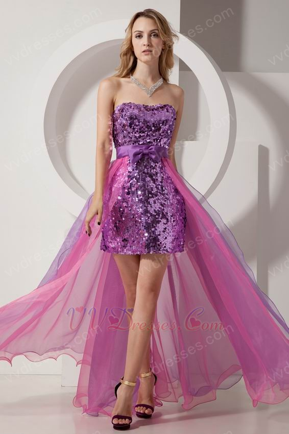 Purple Sequin Sweet 16 High Low Design Skirt Dress