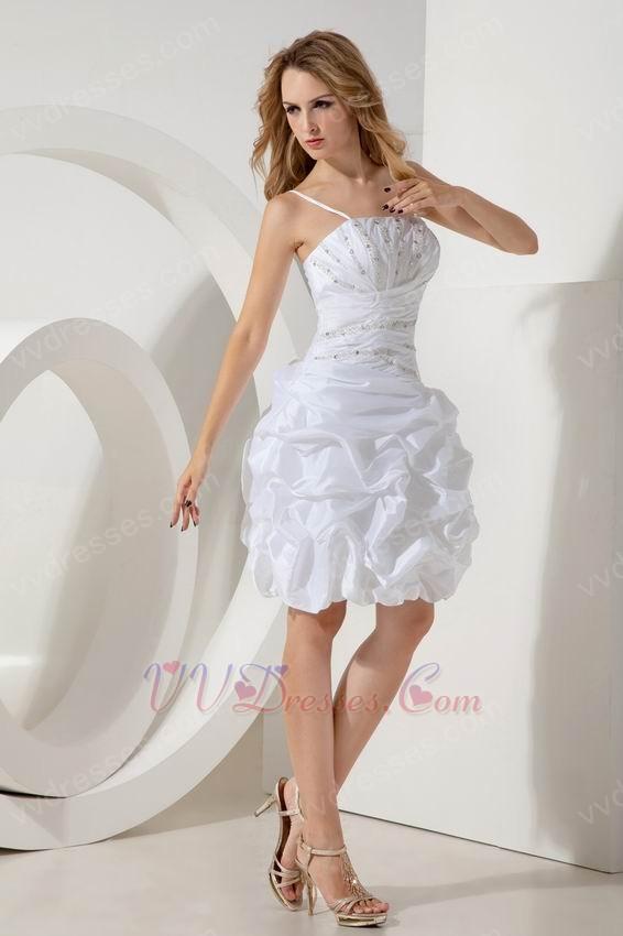 white taffeta dresses for sweet sixteen with spaghetti straps