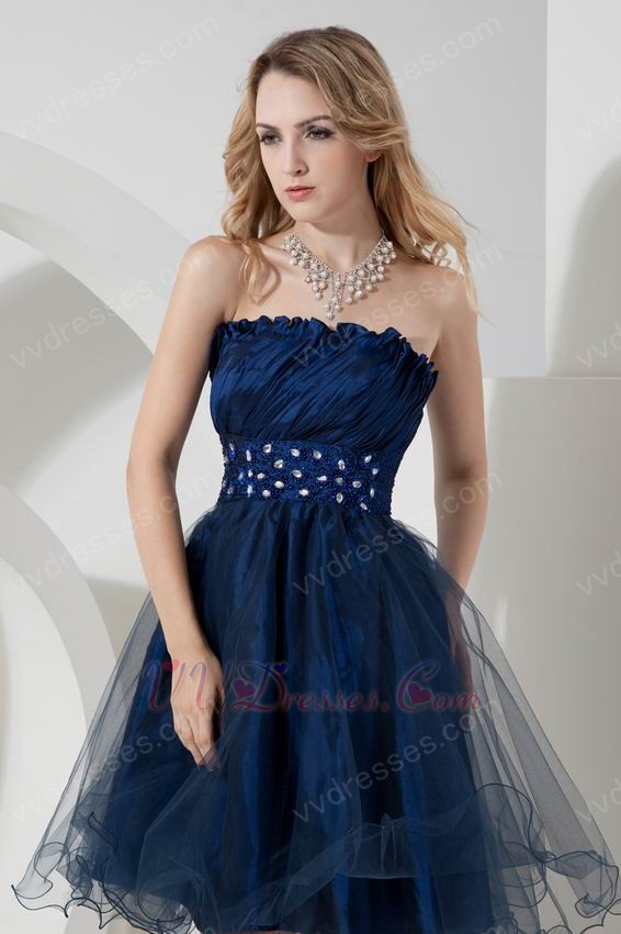 strapless knee length navy blue sweet 16 dress with crystals