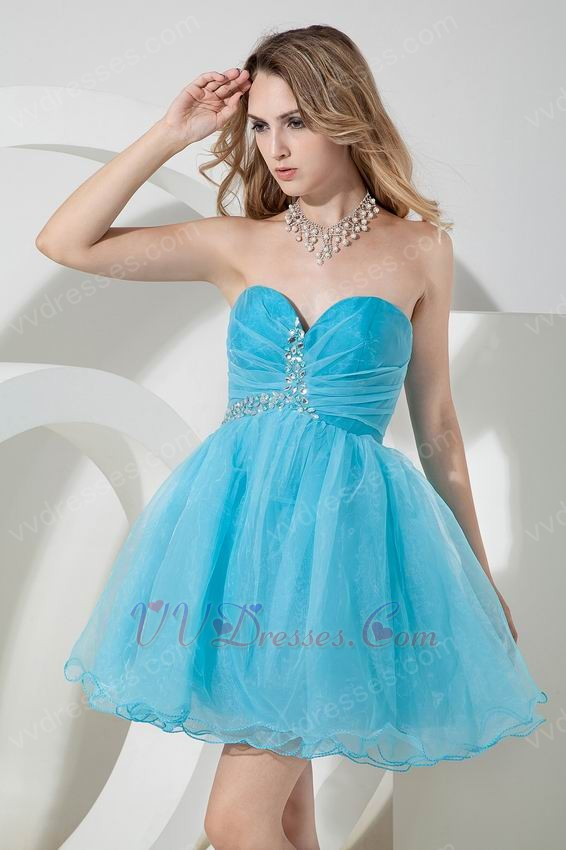 sexy sweetheart crystl aqua skirt dress for sweet 16 party