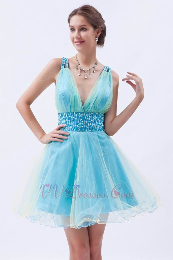 deep vneck light blue custom sweet sixteen dresses