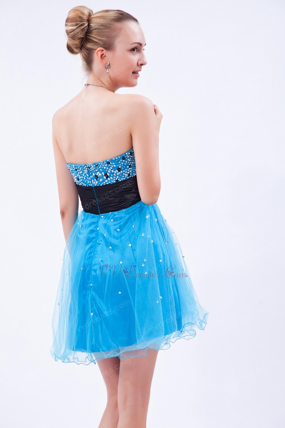 Azure Blue Net Sweet 16 Dress For Beautiful Girls