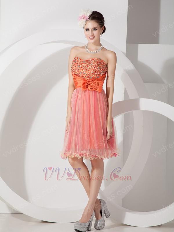 Orange Sweetheart Short Sweet Sixteen Dress Gown
