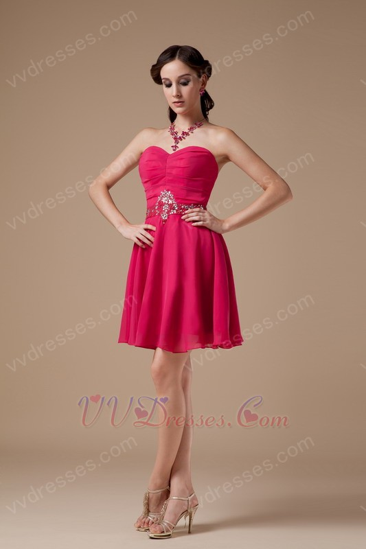 Sweetheart Deep Rose Pink Sweet 16 Prom Party Dresses