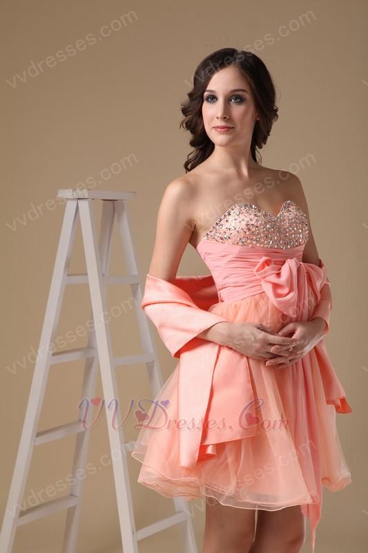Cute Orange Pink Sweet Sixteen Dress With Shawl