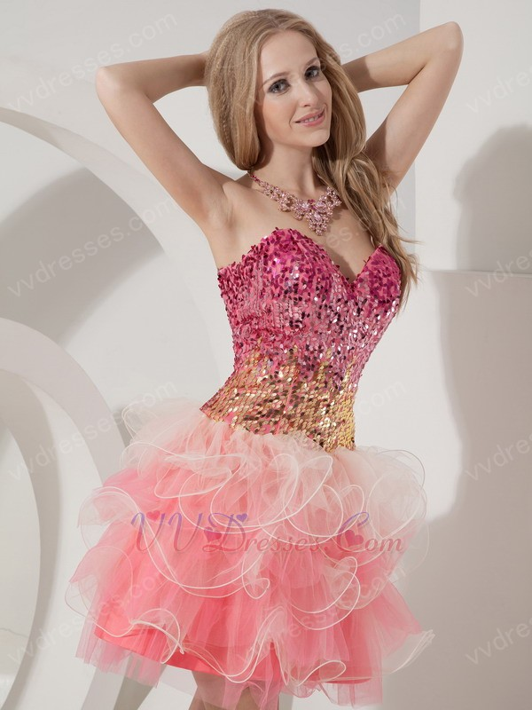Sequin Fit And Flare Pink Sweet 16 Dress By Top Designer