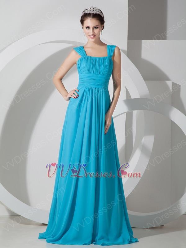 Straps Square Neck Long Best Deals Azure Blue Prom Dress