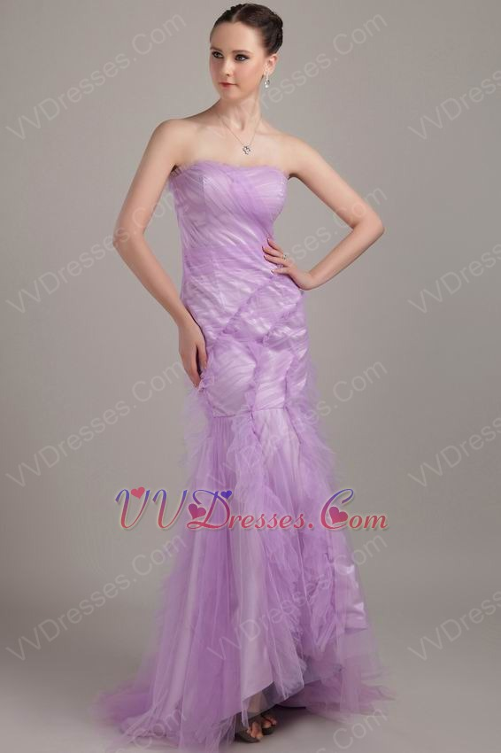 Lilac Mermaid Strapless Ruffled Skirt New Arrival Prom Dress