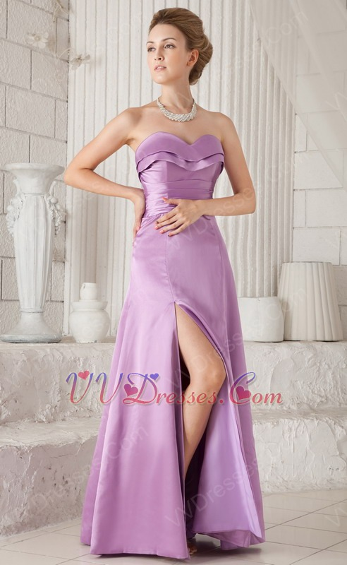 Lilac Strapless Floor-length Bridesmaid Dress Side Split