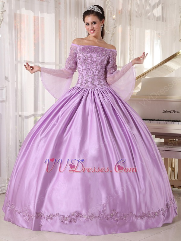 Off Shoulder Half Sleeves Lilac Puffy Skirt 2014 ...