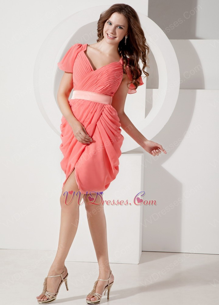 V-neck Short Sleeves Watermelon Chiffon Mini Prom Dress