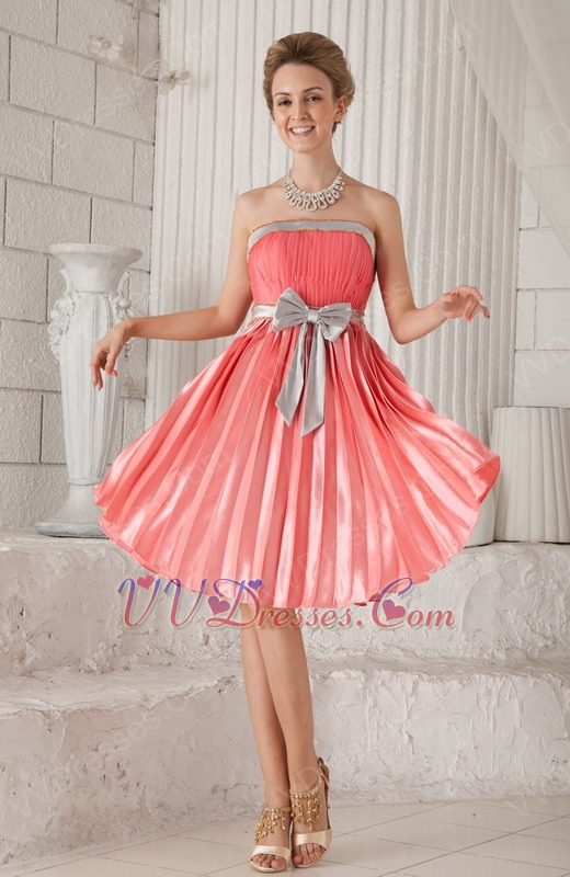 Strapless Knee-length Watermelon Prom Dress With Bowknot