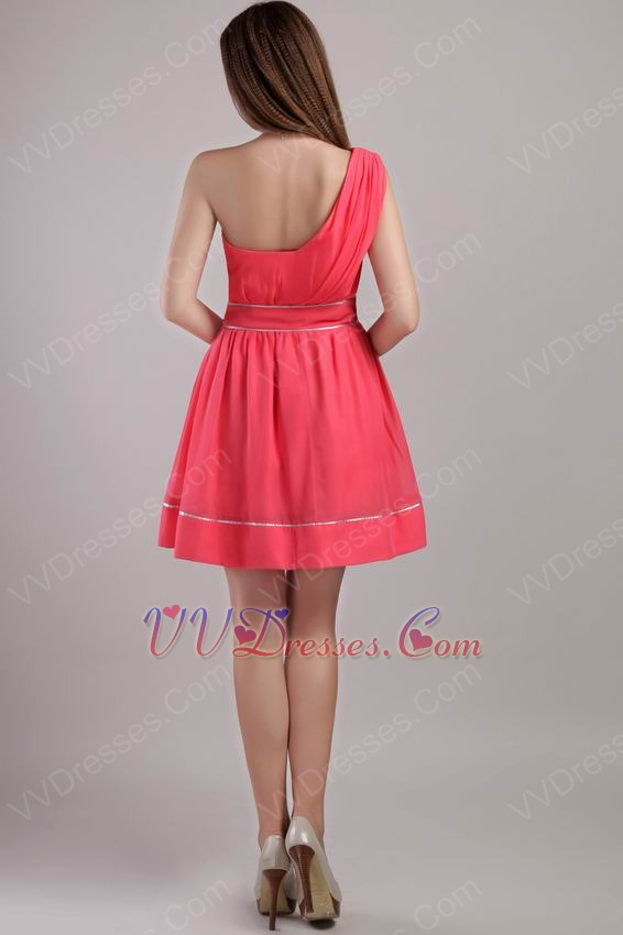 A-line One Shoulder Skirt Designer Coral Red Short Prom Dress