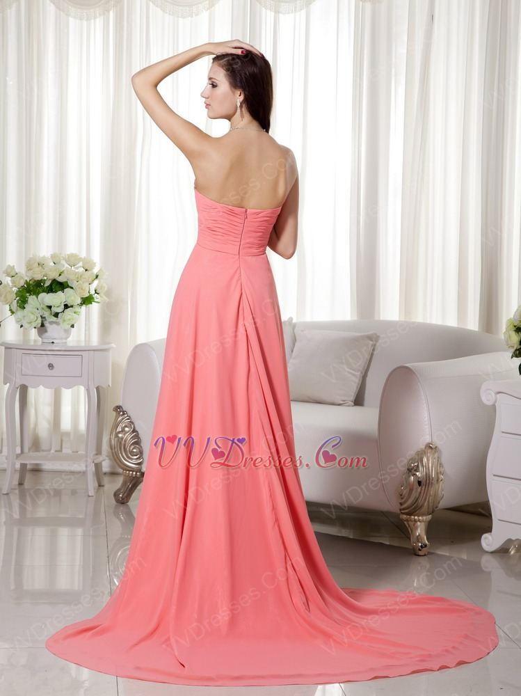 Watermelon Low Front High Back Prom Dress Chiffon Fabric
