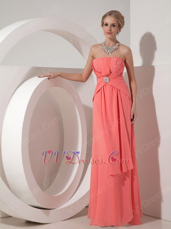 Watermelon Chiffon 2014 Prom Dress With Beading Emberllish