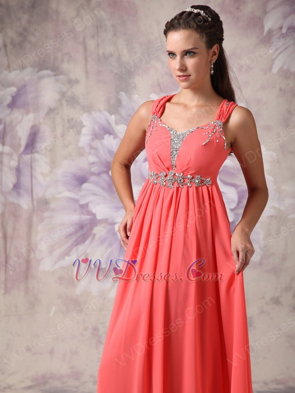 Straps Watermelon Pink Chiffon Prom Party Dress For Sale