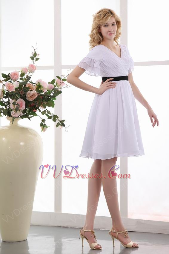 White Dress With Black Belt For Mother Of The Bride Under 100