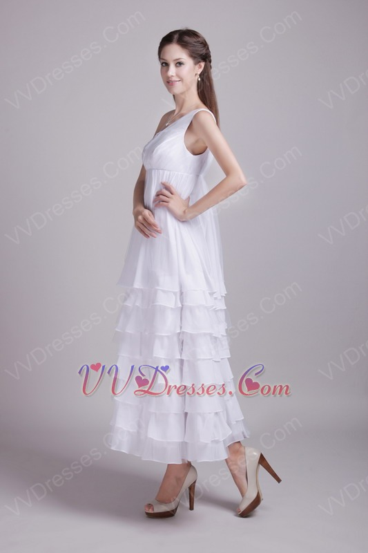 Ankle Length Layers White Plus Size Maternity Prom Dress