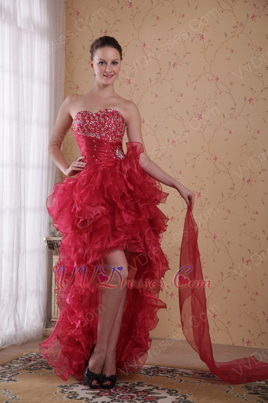 highlow design carmine red prom 2014 dress discount