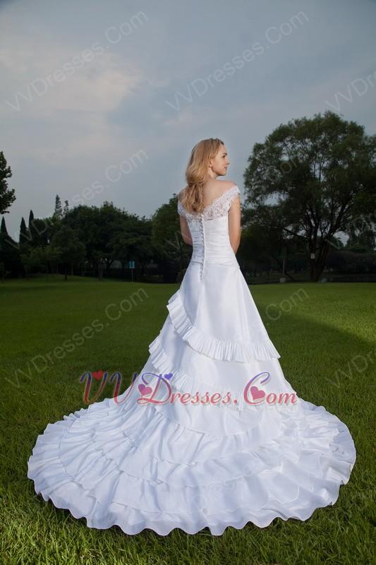 Off the shoulder white taffeta lace wedding dress by designer for Off the shoulder taffeta wedding dress