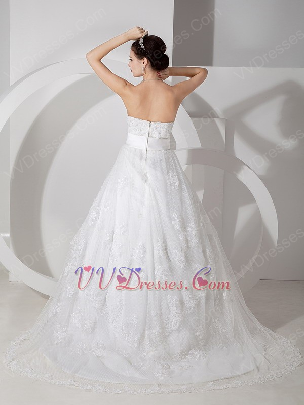 Cheap Strapless Appliques Decorate Wedding Bridal Gown