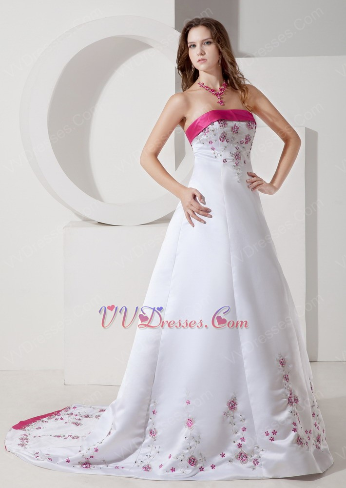 Fuchsia embroidery discount ivory wedding dress with color for Cheap ivory wedding dresses