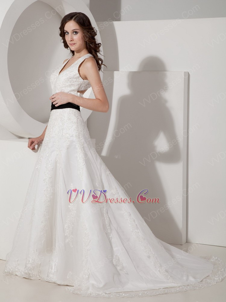 Halter v neck cross back wedding dress lace emberllishments for Cross back wedding dress