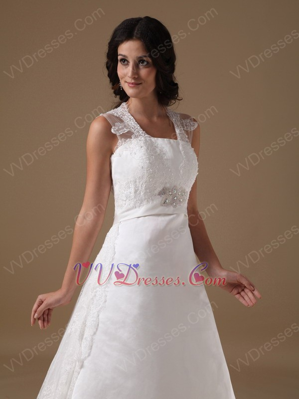 Discount Square Lace Emberllishments Wedding Dress For Sale