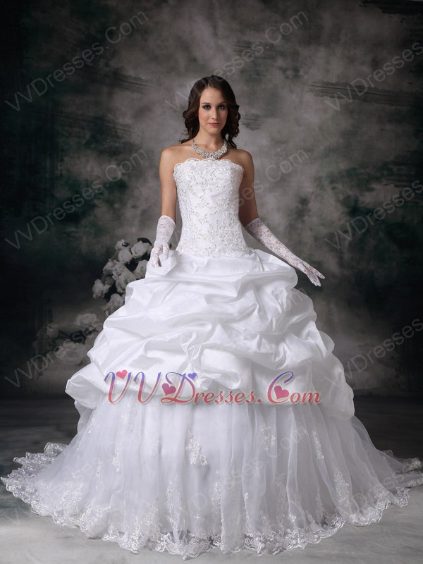 Ball Gown Western Puffy Wedding Dress With Lace