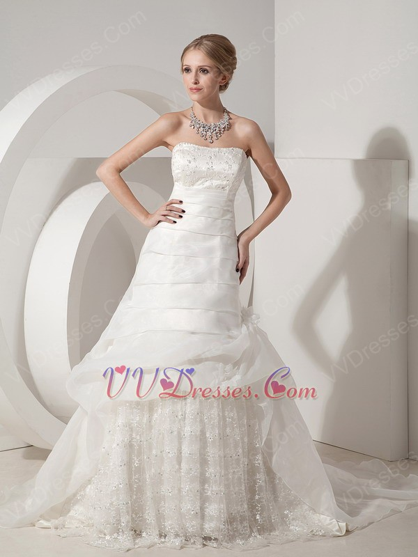 Strapless lace skirt western wedding dress with chapel train for Lace western wedding dresses