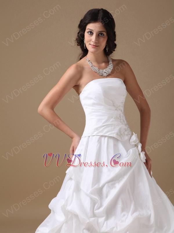 Strapless Side Applique 2014 Discount Wedding Dress For Sale