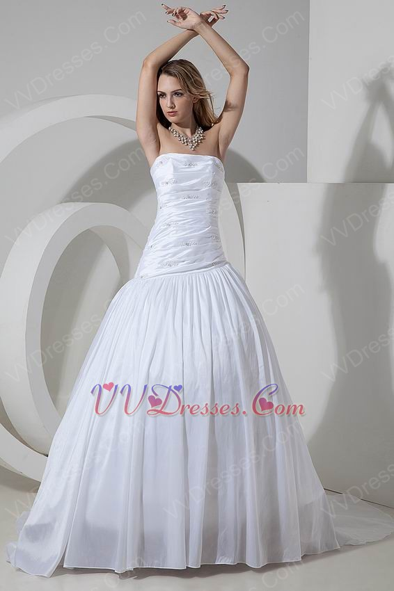 Inexpensive Strapless Cathedral Train Ivory Taffeta Puffy Wedding Dresses