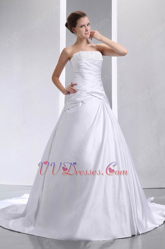 Strapless applique corset puffy cathedral bridal dress for Beautiful puffy wedding dresses