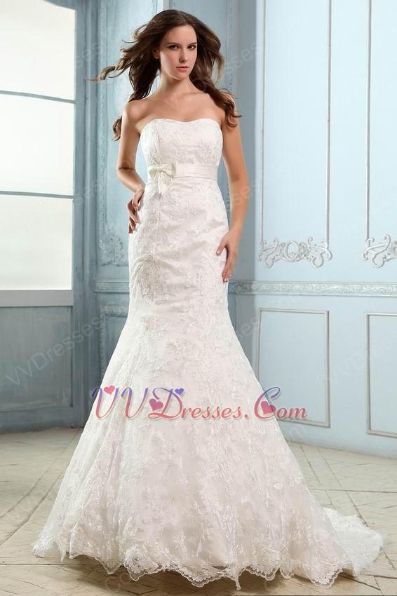 Prettye trumpet fishtail ivory bridal wedding dress for cheap for Ivory trumpet wedding dress