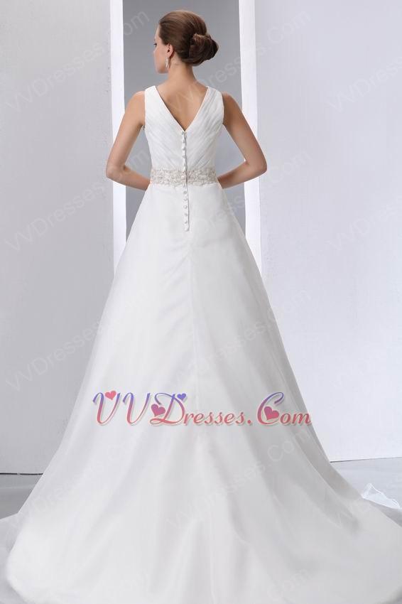Beaded belt v neck chapel wedding dress make your own for Make your own wedding dresses