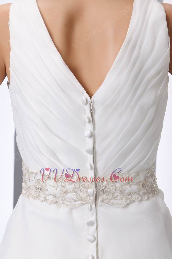 dresses beaded belt v neck chapel wedding dress make your own