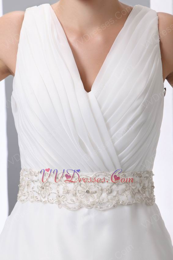 beaded belt v neck chapel wedding dress make your own