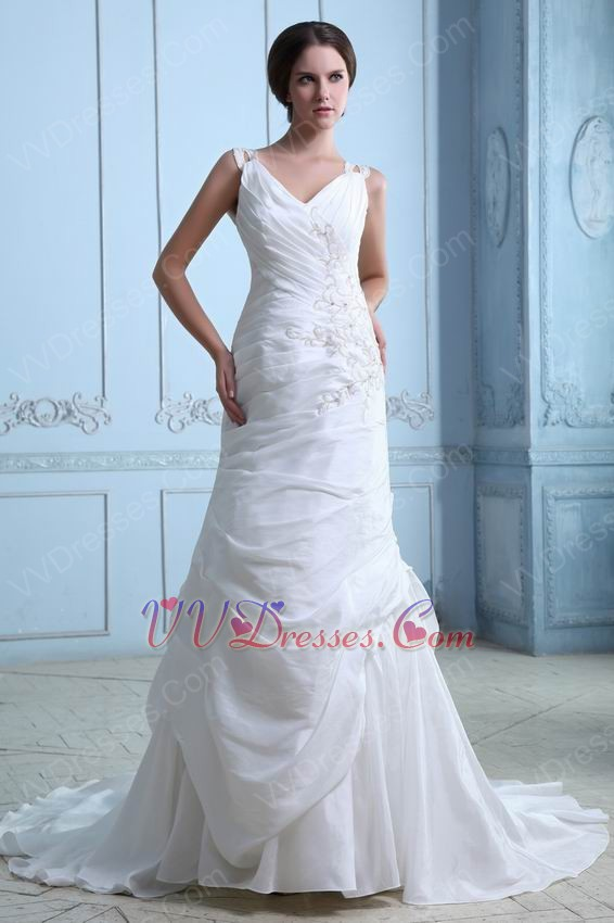 Cheap v neck embroidery beading chapel ivory taffeta for Cheap western wedding dresses