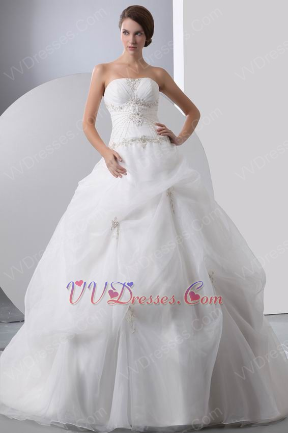 Beautiful strapless embroidery beaded puffy bridal gown for Beautiful puffy wedding dresses