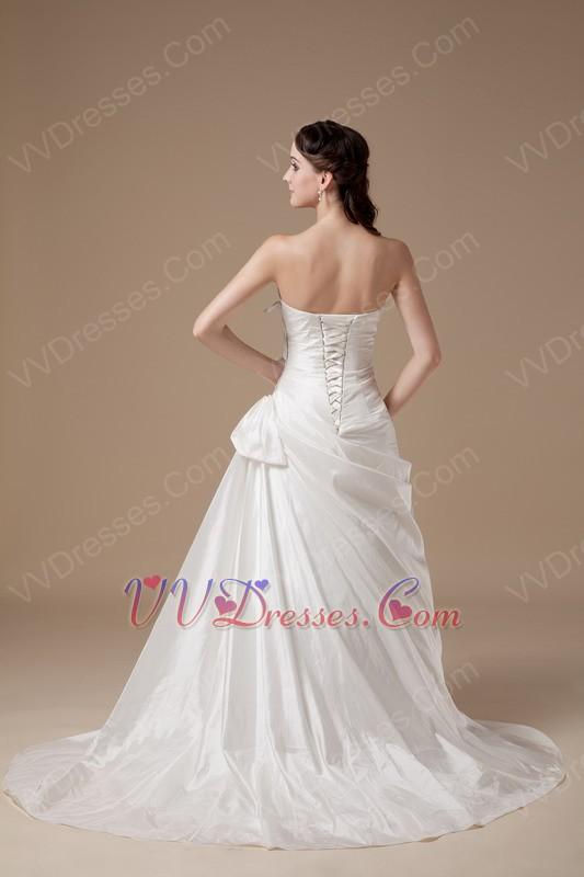 Cute Sleeves Ivory Aline Taffeta Wedding Dress For Bride