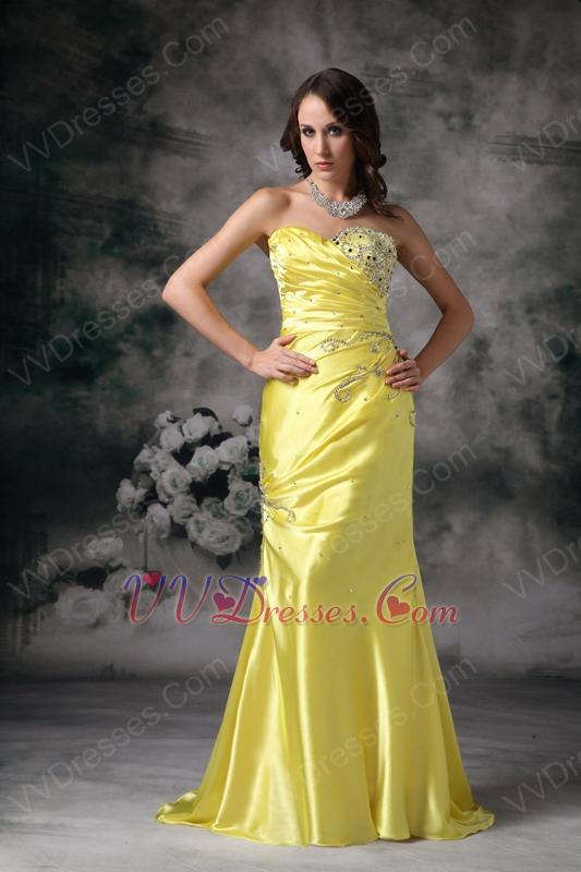 column sweetheart canary yellow pretty prom dress cheap